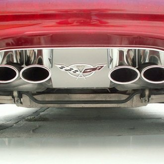 ACC® - GM Licensed Series Polished SS Exhaust Filler Panel with 50th Anniversary Crossed Flags Emblem for Stock Tips
