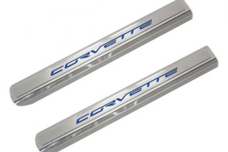 ACC® - Stainless Door Sills with Blue Carbon Fiber Corvette Logo