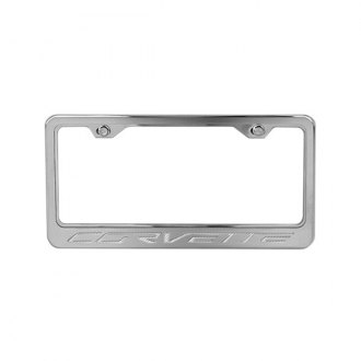 ACC® - Stainless Steel License Plate Frame with White Carbon Fiber Corvette Logo