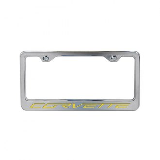 ACC® - Stainless Steel License Plate Frame with Yellow Carbon Fiber Corvette Logo