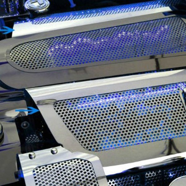 American Car Craft® - Replacement Style Perforated Illuminated Polished Fuel Rail Covers with Cap Covers