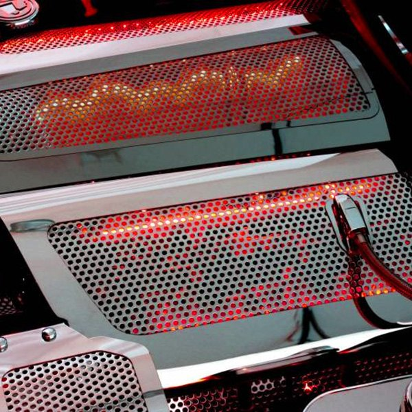 Image may not reflect your exact vehicle! ACC® - White Illuminated Perforated SS Replacement Style Fuel Rail Covers
