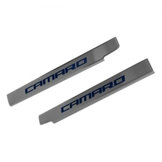 ACC® - Brushed Stainless Steel Door Sills with Blue Camaro Logo