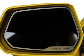 American Car Craft® - Brushed Side View Mirror Trim with Camaro Logo