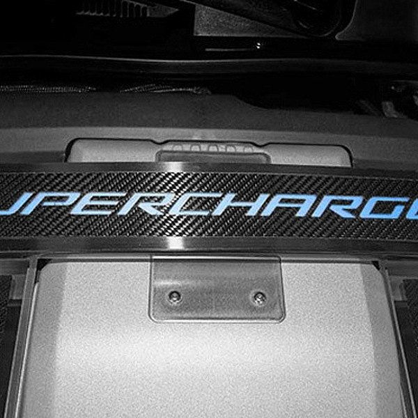American Car Craft® - Illuminated Polished Strut Bar Trim with Carbon Fiber Supercharged Logo