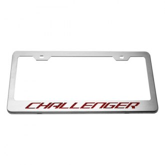 ACC® - MOPAR Licensed Series Brushed License Plate Frame with Bright Red Challenger Logo