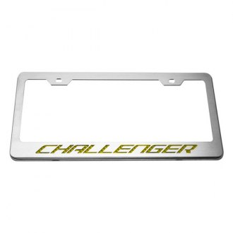 ACC® - MOPAR Licensed Series Brushed License Plate Frame with Yellow Carbon Fiber Challenger Logo