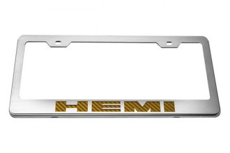 ACC® - Stainless Steel License Plate Frame with Orange HEMI Logo
