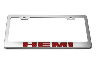 ACC® - Stainless Steel License Plate Frame with Red HEMI Logo