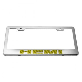 ACC® - License Plate Frame with Yellow Carbon Fiber HEMI Logo
