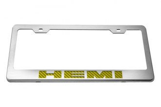 ACC® - Stainless Steel License Plate Frame with Yellow HEMI Logo