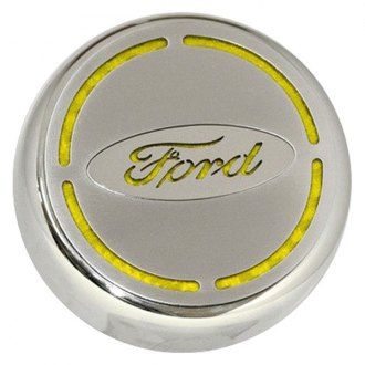 ACC® - Ford Oval Bowtie on Brushed Stainless Steel Engine Fluid Caps