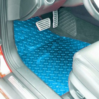 ACC® - 1st and 2nd Row Aluminum Blue Powder Coated Diamond Plate Floor Mats Set