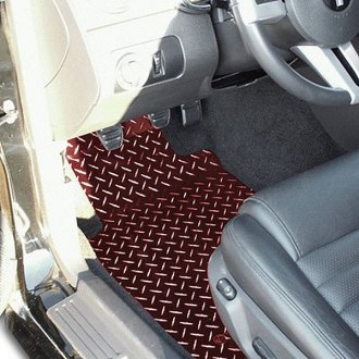 ACC® - 1st Row Aluminum Red Powder Coated Diamond Plate Floor Mats