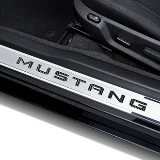 ACC® - Polished Stainless Steel Door Sills with Carbon Fiber Mustang Logo