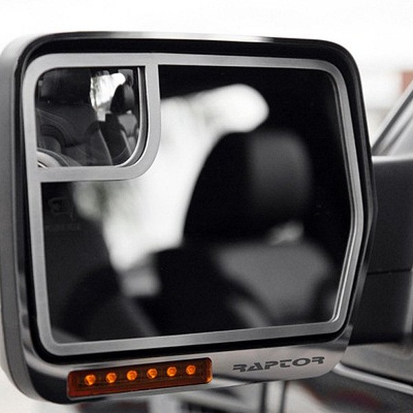 American Car Craft® - Brushed Side View Mirror Trim with Raptor Logo
