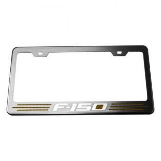 ACC® - Stainless Steel License Plate Frame with Orange Carbon Fiber F-150 Inlay