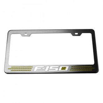 ACC® - Stainless Steel License Plate Frame with Yellow Carbon Fiber F-150 Inlay