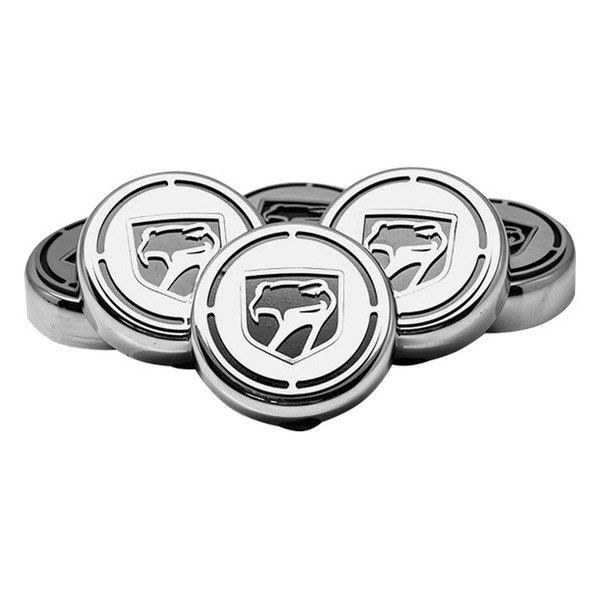 American Car Craft® - Chrome Cap Cover Set with Black Sneaky Pete Logo