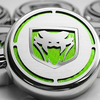 ACC® - Chrome Cap Cover Set with Green Carbon Fiber Fangs Logo