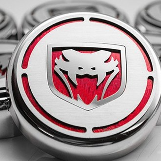 ACC® - Chrome Cap Cover Set with Red Carbon Fiber Fangs Logo