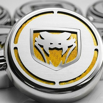 ACC® - Chrome Cap Cover Set with Yellow Carbon Fiber Fangs Logo