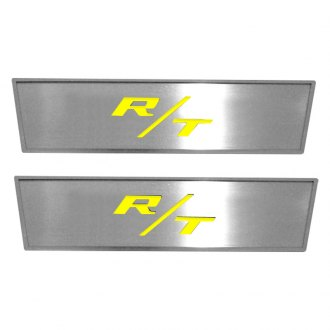 ACC® - MOPAR Licensed Brushed Front Door Badges with Yellow R/T Logo