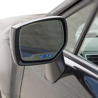 ACC® - Brushed Side View Mirror Trim with Blue Carbon Fiber WRX Logo