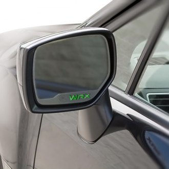 ACC® - Brushed Side View Mirror Trim with Green Carbon Fiber WRX Logo