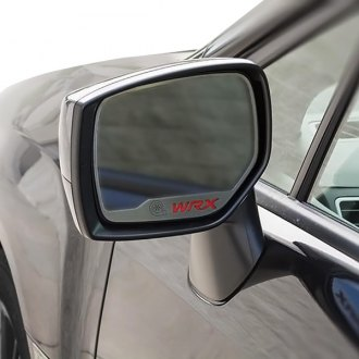 ACC® - Brushed Side View Mirror Trim with Red Carbon Fiber WRX Logo