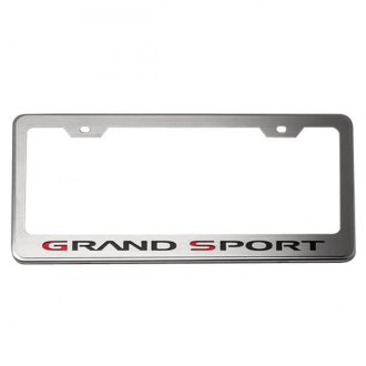 American Car Craft® - GM Licensed Series Brushed License Plate Frame with Black Solid Grand Sport Logo