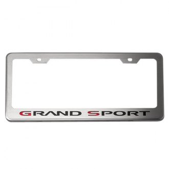 ACC® - GM Licensed Series Brushed License Plate Frame with Black Solid Grand Sport Logo