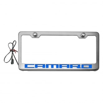 ACC® - Brushed License Plate Frame with Camaro Logo and Illuminated