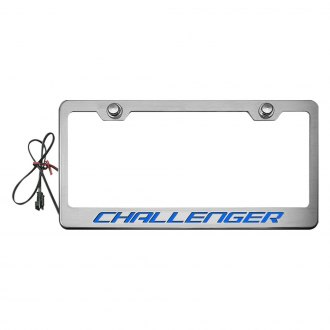 ACC® - MOPAR Licensed Series Brushed License Plate Frame with Challenger Logo and Illuminated