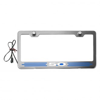 ACC® - Brushed License Plate Frame with 5.0 Logo and Illuminated