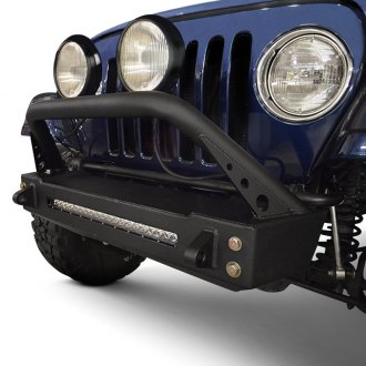ACE Engineering® - Pro Series Stubby Black Front Winch HD Bumper with Hoop
