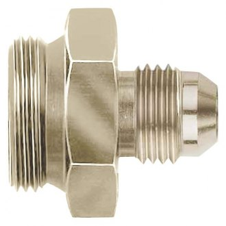 "Aeroquip® - Nickel Plated Male -6 AN Hose Size to 7/8""-20 Thread Carburetor and Fuel Pump Adapter, Bulk Packaged"