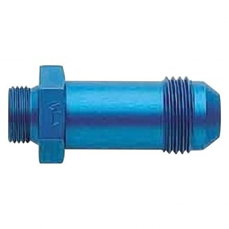 "Aeroquip® - Blue Anodized Aluminum Male Swivel -8 AN Hose Size to 9/16""-24 Thread Carburetor and Fuel Pump Adapter, Retail Packaged"
