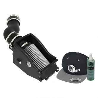 aFe® - Diesel Elite™ Magnum Force™ Stage 2 Aluminum Black Cold Air Intake System with Pro Dry S Gray Filter