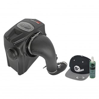 aFe® - Diesel Elite™ Momentum™ GT Aluminum Black Cold Air Intake System with Pro Dry S Gray Filter