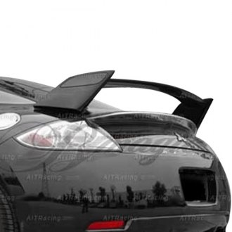 AIT Racing® - Black Out Style Fiberglass Rear Spoiler with Carbon Fiber Blade (Unpainted)