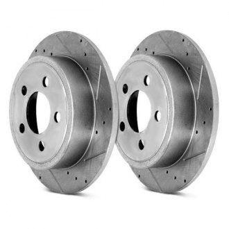Alloy USA® - Drilled and Slotted Solid 1-Piece Rear Brake Rotors