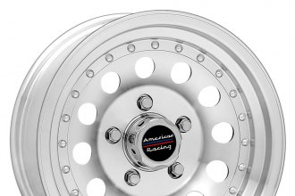 "AMERICAN RACING® - OUTLAW II Machined Silver with Clear Coat Powder (14"" x 6"", +6 Offset, 5x114.3 Bolt Pattern, 83.1mm Hub)"