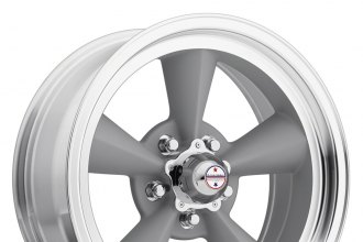 "AMERICAN RACING® - TORQ THRUST ORIGINAL Painted Gray with Machined Lip (15"" x 7"", -6 Offset, 5x120.65 Bolt Pattern, 83.06mm Hub)"