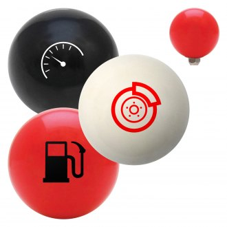 "American Shifter® - Billiard Cue Ball Series ""Automotive Symbols and Signs"" Custom Shift Knob"