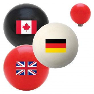 "American Shifter® - Billiard Cue Ball Series ""Flags of the World"" Custom Shift Knob"