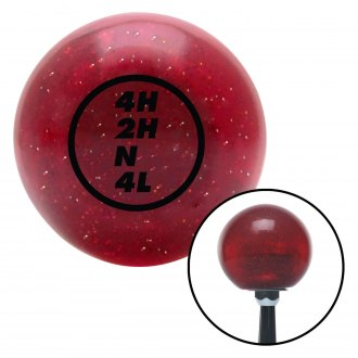 American Shifter® - Old Skool Series Translucent Red with Metal Flakes Custom Transfer Case Shift Knob