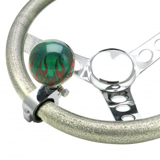 American Shifter® - Green Flame Adjustable Translucent Suicide Brody Knob with Metal Flake