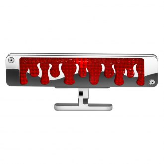 AMI® - Brushed Chrome/Red Flame Style Pedestal 3rd Brake Light
