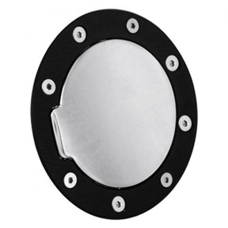 AMI® - Race Style Non-Locking Gloss Black Ring and Chrome Door Billet Gas Cap